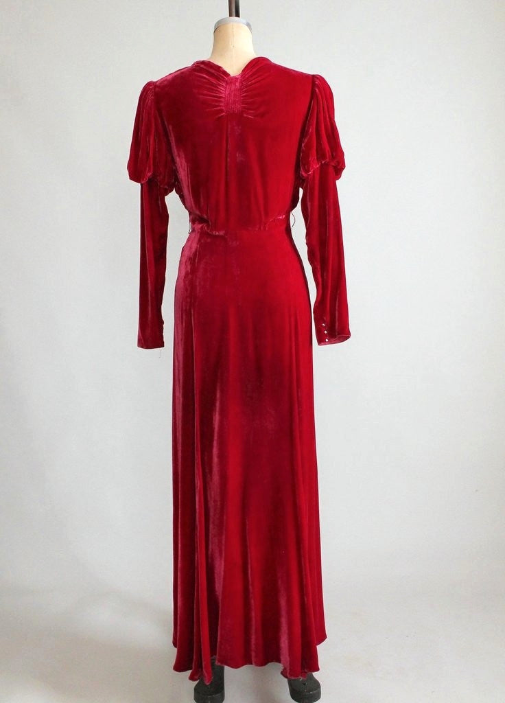Vintage 1930s Red Velvet Holiday Glam Dress