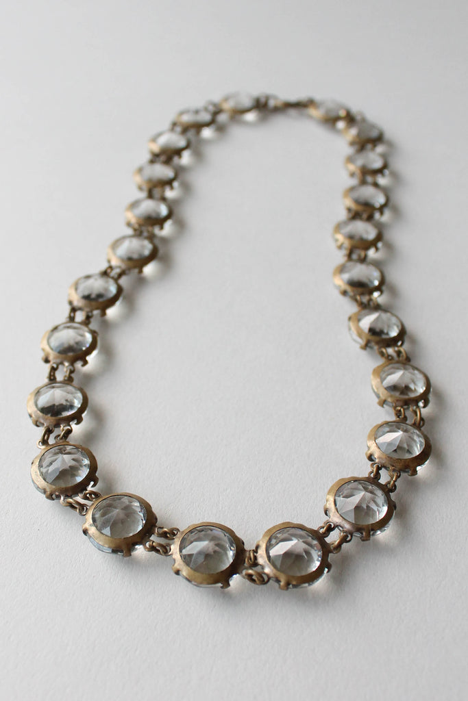 1930s Rhinestone Crystal and Brass Necklace