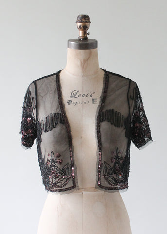 Vintage 1930s Sequined and Beaded Sheer Bolero Jacket