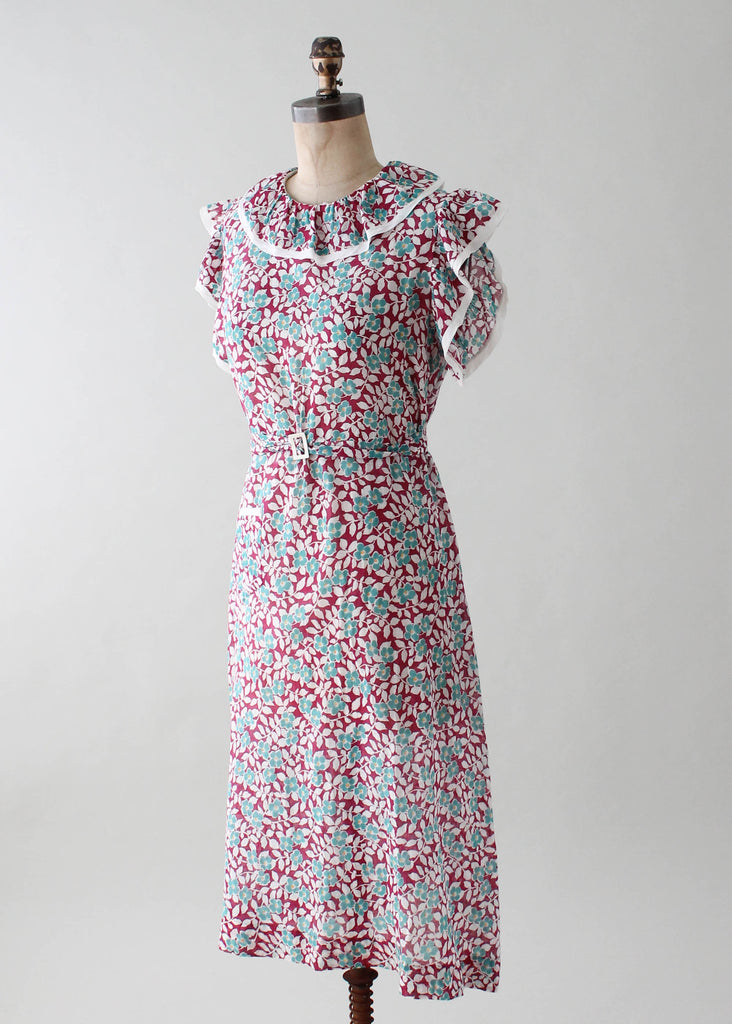 Vintage 1930s Teal and Plum Floral Day Dress