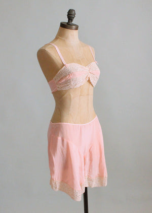Vintage 1930s Pink Rayon and Lace Bra and Tap Pants Set