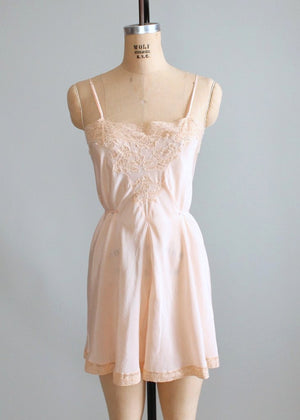 Vintage 1930s Peach Silk and Lace Stip In Teddy