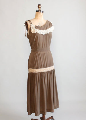 Vintage 1930s Silk and Tatted Lace Asymmetrical Sundress