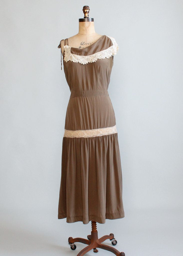 Vintage 1930s Silk And Tatted Lace Asymmetrical Sundress Raleigh