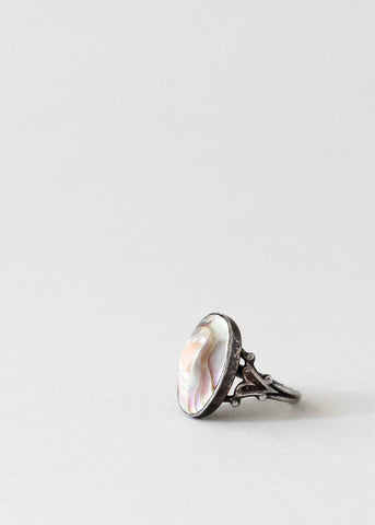 Vintage 1930s Sterling Silver Blister Pearl Pinky Ring