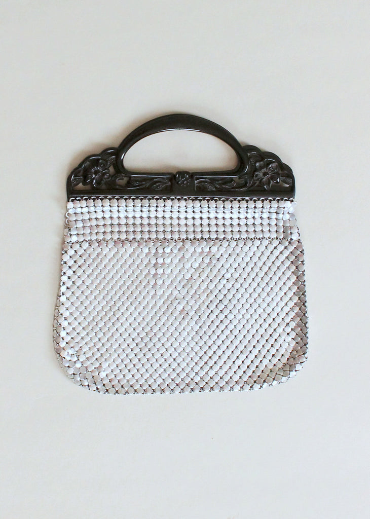 Vintage 1930s Silver Mesh Purse with Black Celluloid Handles