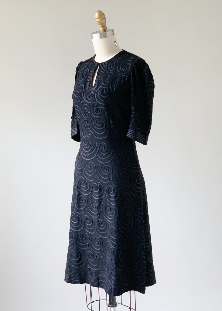 Vintage 1930s Soutache Crepe Dress