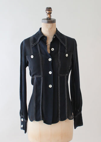 1970s Simple Navy Sheer Blouse