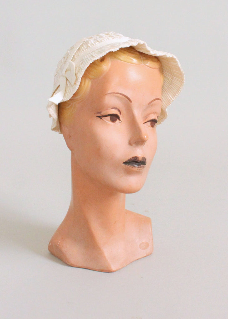 Vintage 1930s Summer White Bucket Hat