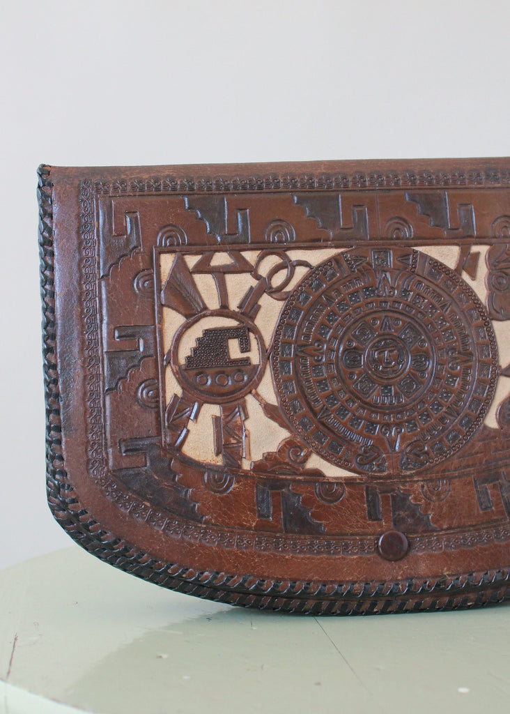 Vintage 1930s Mexican Two Toned Tooled Leather Clutch Purse