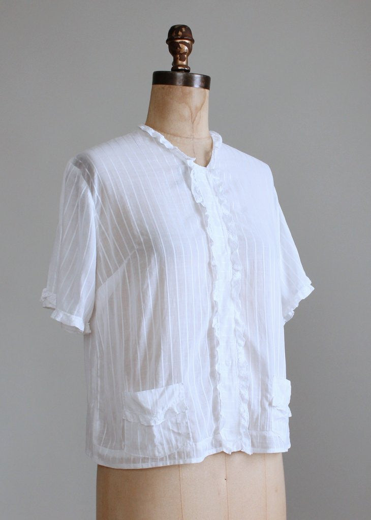 Vintage 1930s White Cotton Striped Blouse