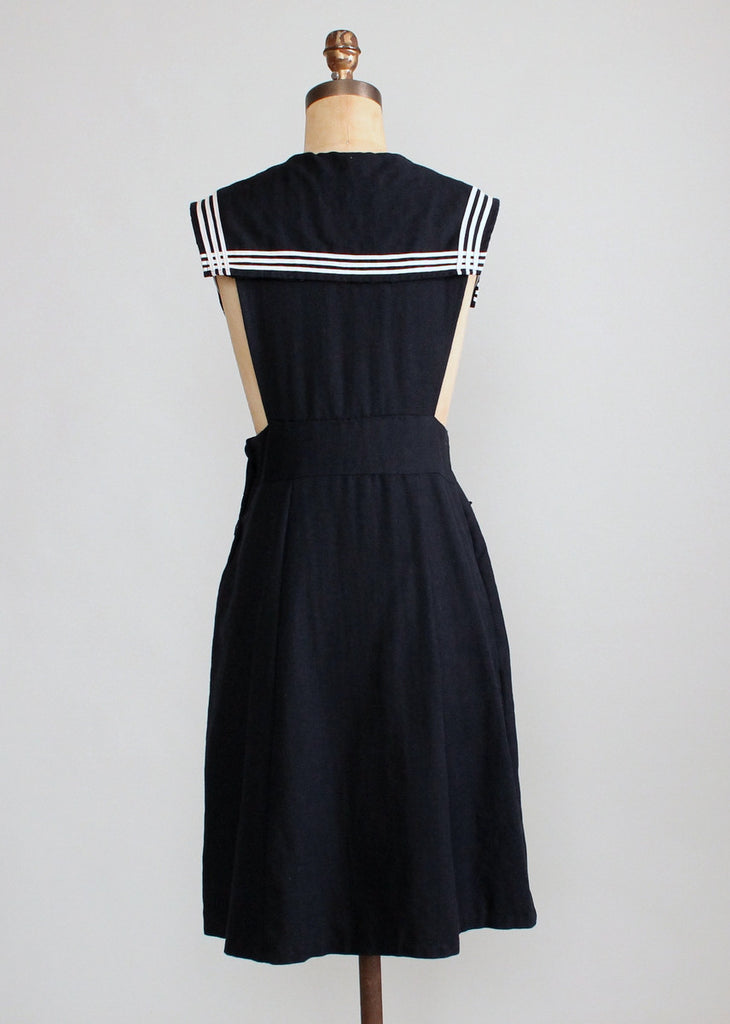 Vintage 1930s Wool Sailor Style Schoolgirl Dress Raleigh