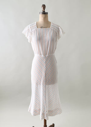 Vintage 1930s Cotton Striped Dress