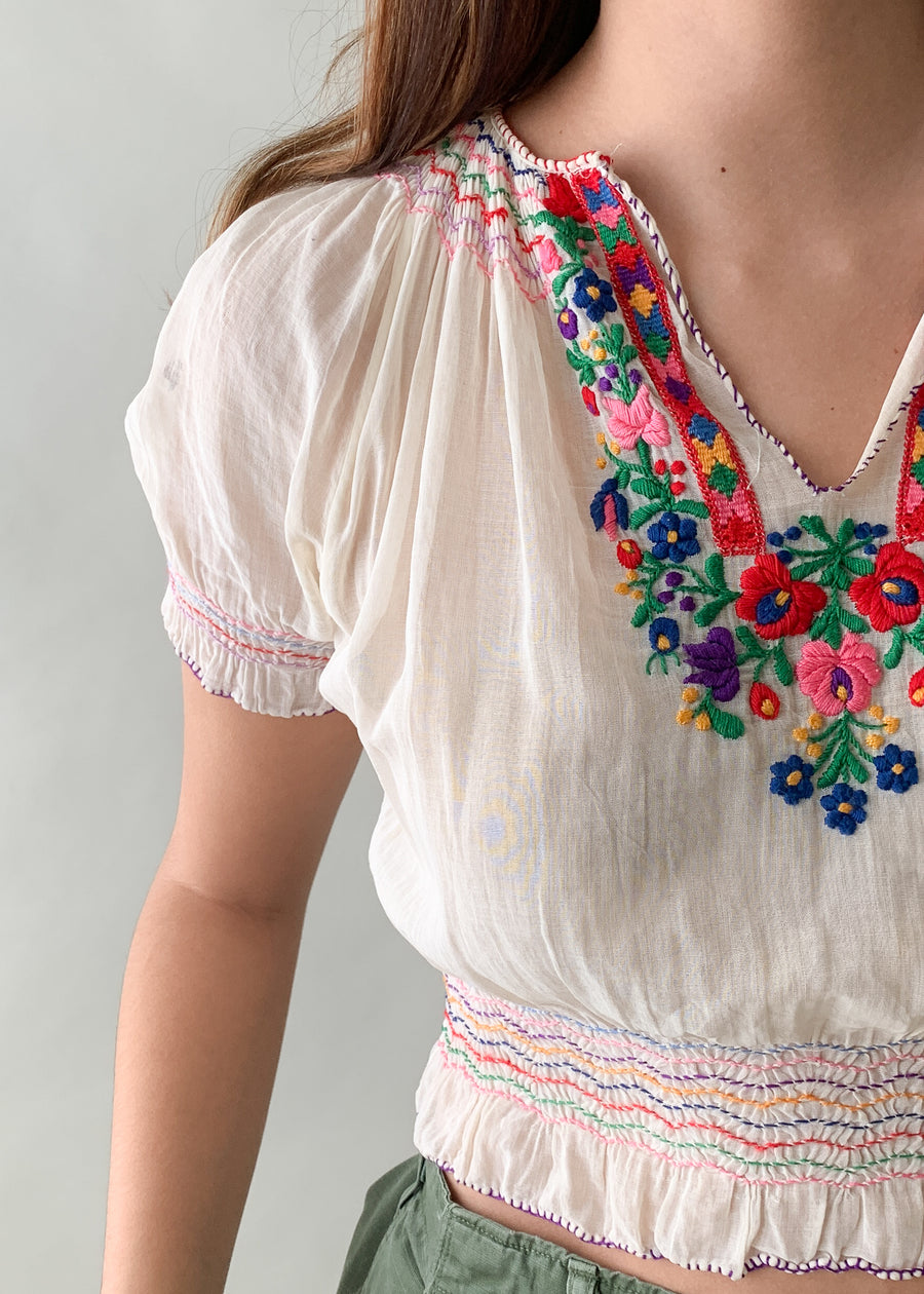 Vintage 1930s Embroidered Hungarian Top