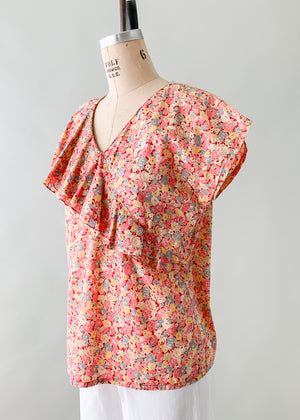Vintage 1930s Feedsack Cotton Ruffle Top