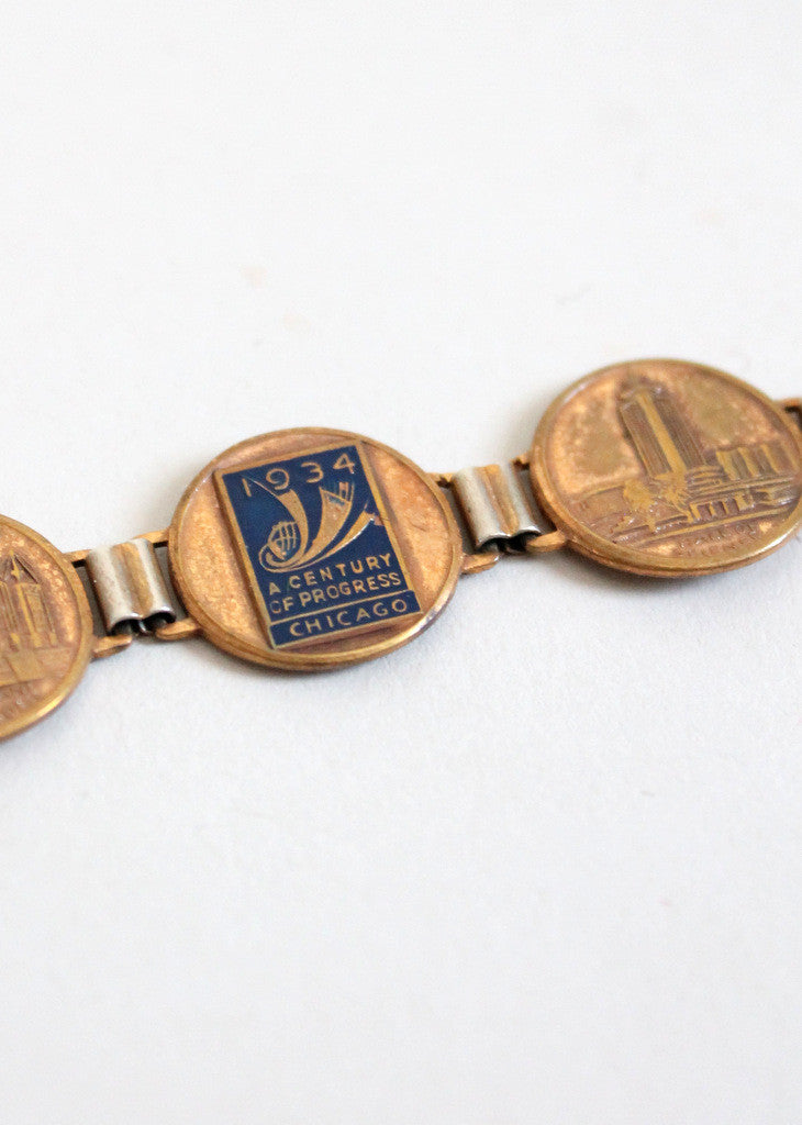 Vintage 1934 Chicago World's Fair Souvenir Coin Bracelet