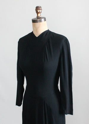 Vintage 1940s Art Deco Simple Black Crepe Dress