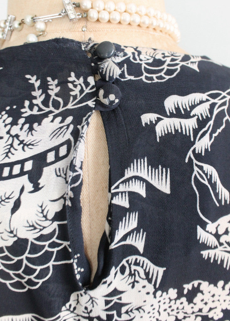Vintage 1940s Asian Print Rayon Peplum Dress