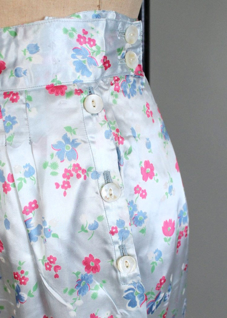 Vintage 1940s Asian Floral Silk Pajamas