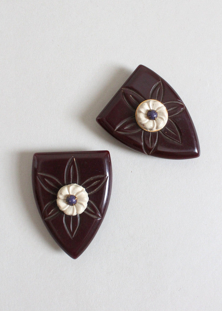 Vintage 1940s Brown Bakelite Dress Clip Set