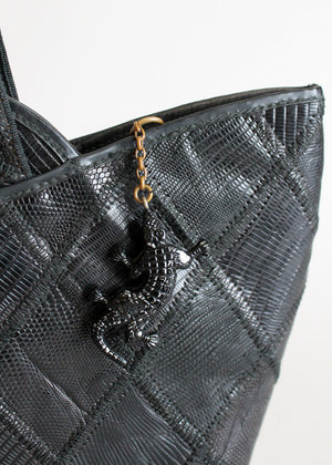 Vintage 1940s Black Lizard Patch Purse