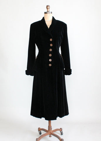Vintage 1940s Black Velvet Princess Coat