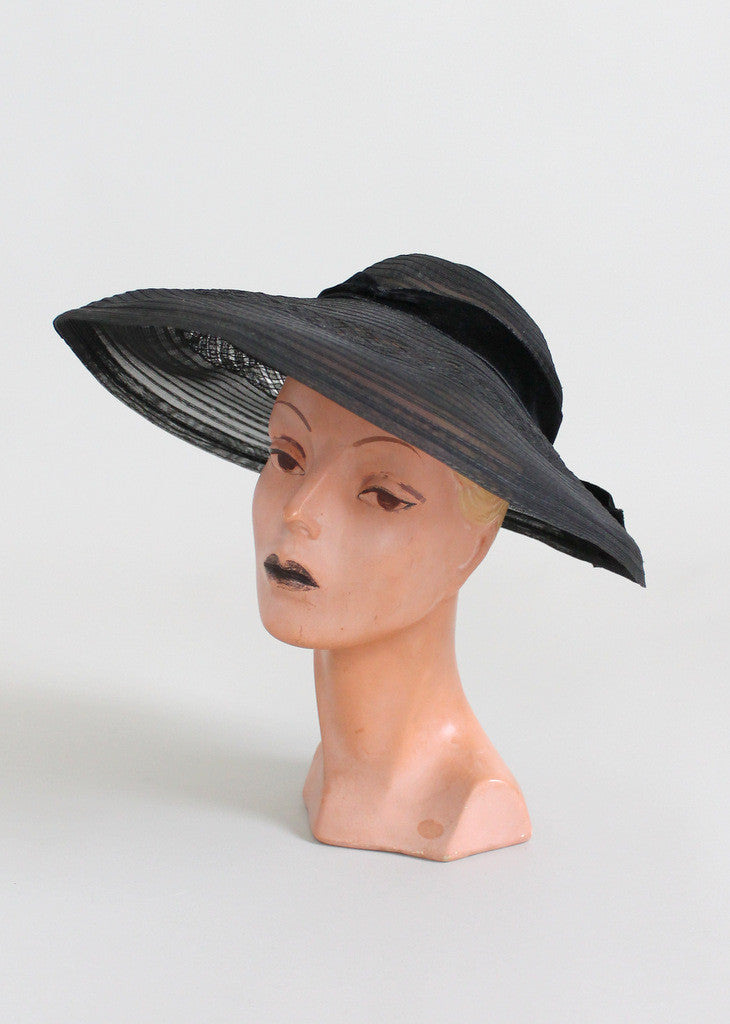 Vintage Early 1950s Wide Brim Black Horse Hair Hat