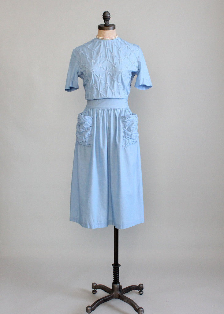 Vintage Early 1940s Blue Cotton Swing Dress