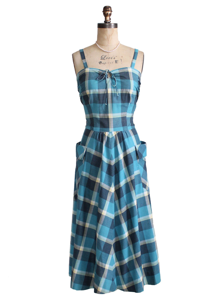 Vintage Late 1940s Blue Plaid Sundress