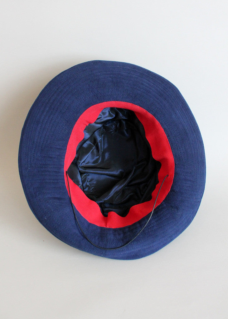 Vintage 1940s Blue Suede Feathered Fedora