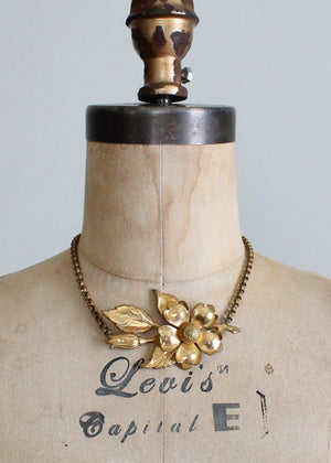 Vintage 1940s brass flower necklace
