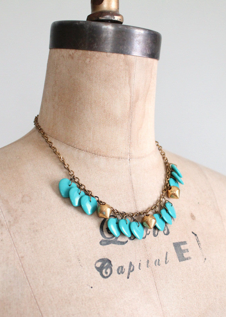 Vintage 1940s Turquoise Glass Hearts and Brass Necklace