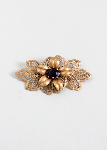 Vintage 1940s Floral Brass and Purple Glass Brooch