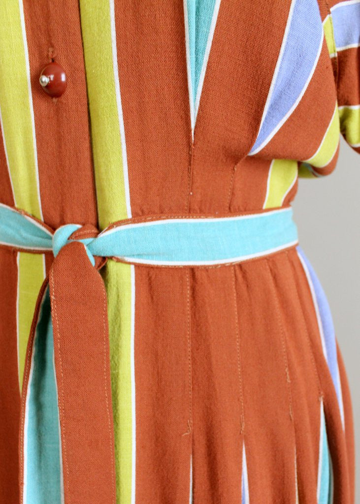 Vintage 1940s Brown Colorful Striped Day Dress