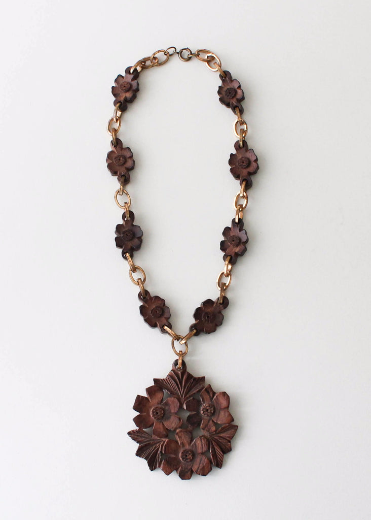 Vintage 1940s  Brass and Carved Wood Flower Necklace