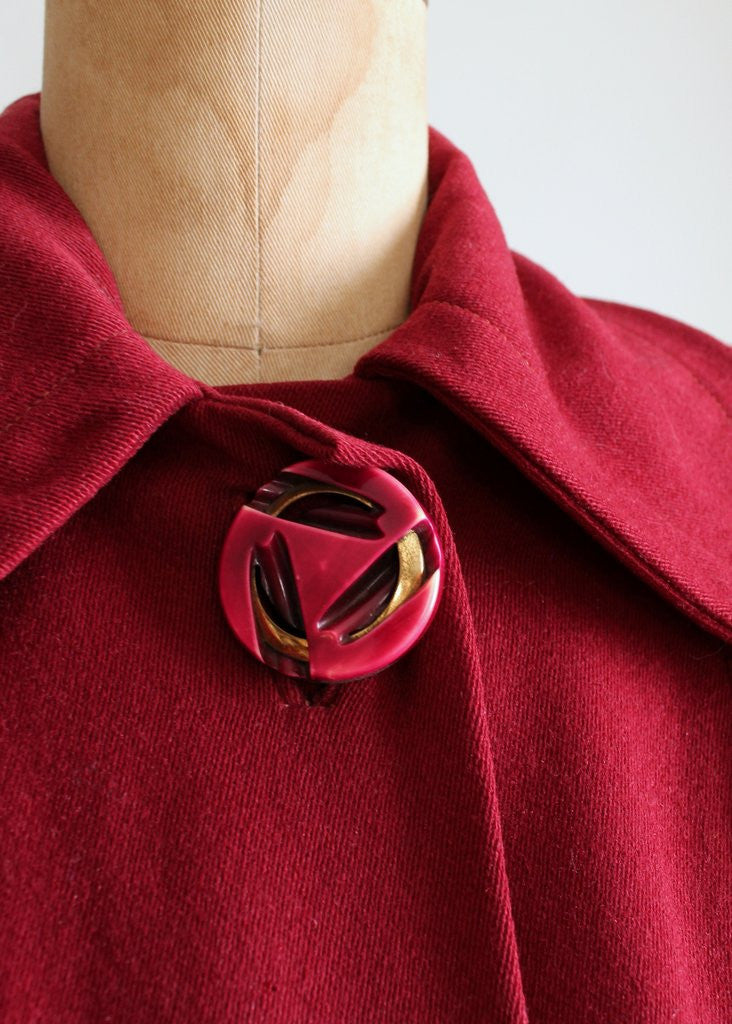 Vintage 1940s Cranberry Wool Swing Coat
