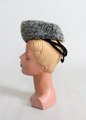Vintage 1940s Curly Lamb Fur Winter Tilt Hat