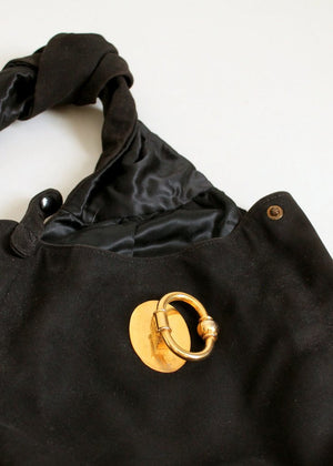 Vintage 1940s Suede Over the Arm Bag Purse