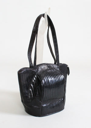 Vintage 1940s Deitsch Black Lizard Tulip Purse