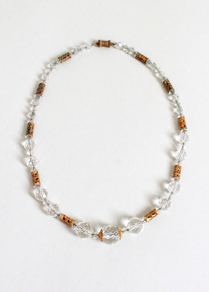 Vintage 1940s Faceted Crystal and Brass Bead Necklace