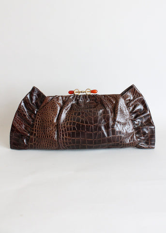 Vintage 1940s Faux Alligator Oversized Clutch