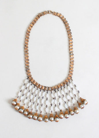 Vintage 1940s Faux Pearl Dangle Bookchain Necklace