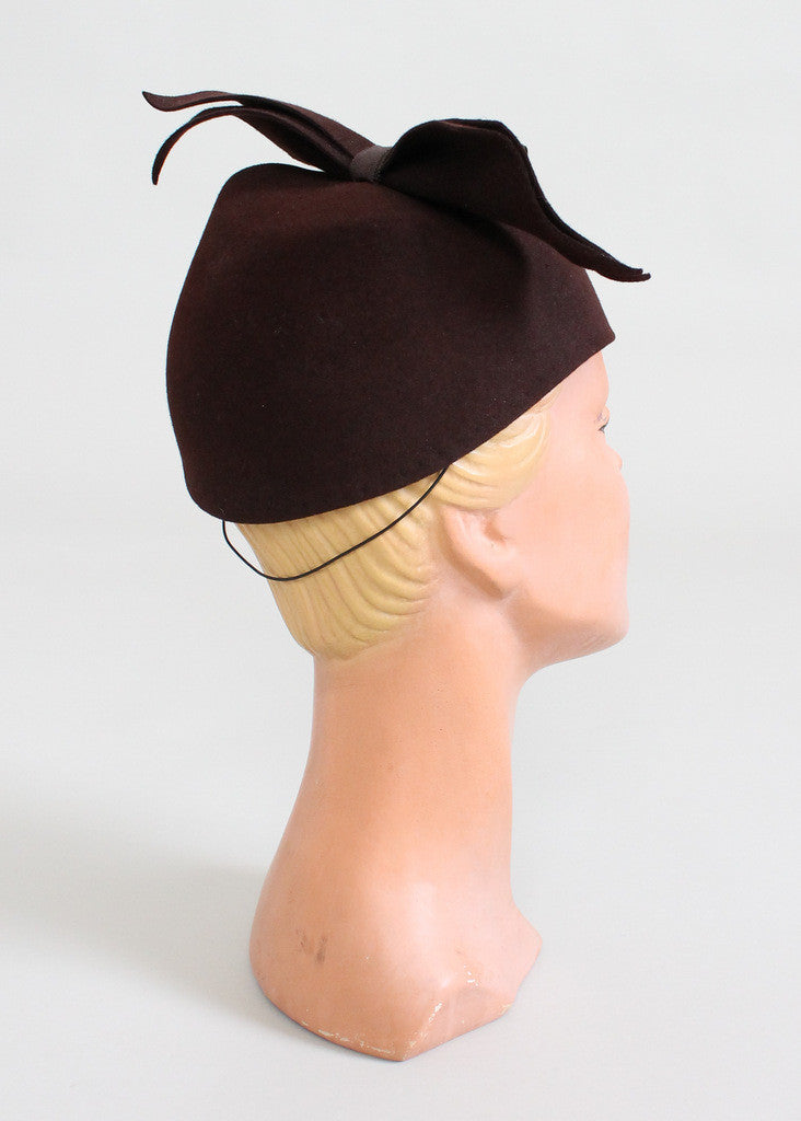 Vintage 1940s High Bow Felt Hat