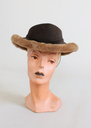 Vintage 1940s Felt Fedora with Faux Fur Trim