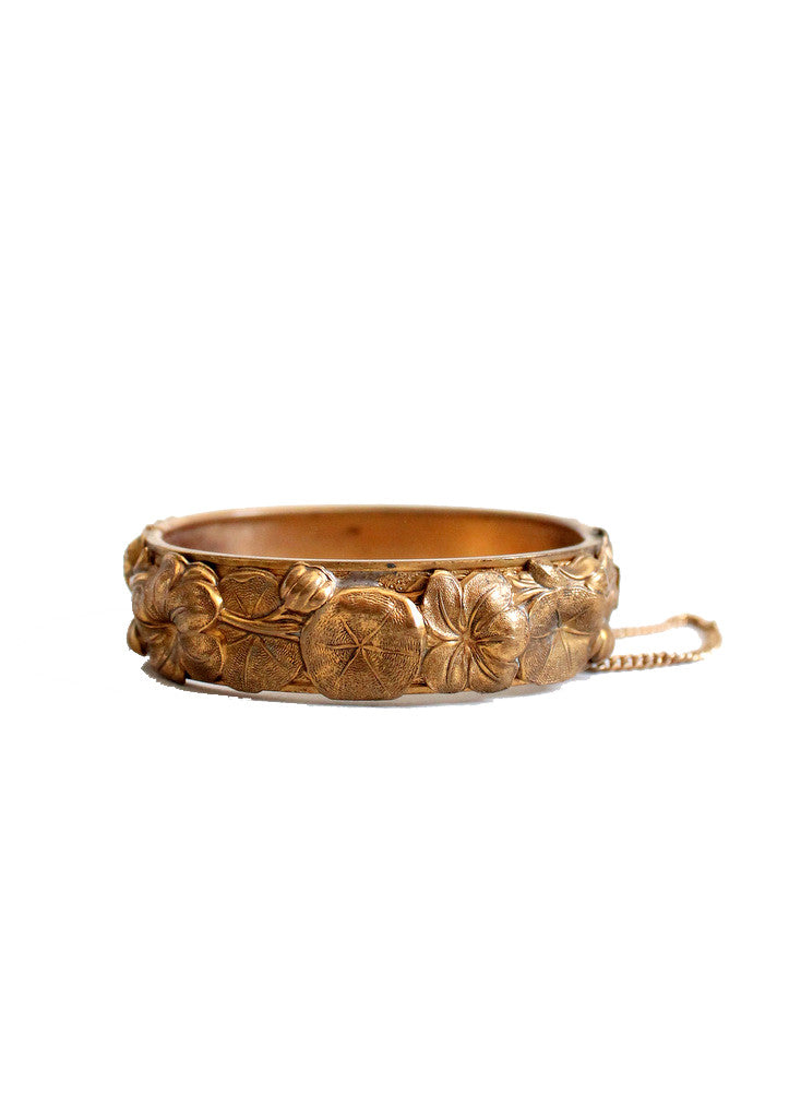 Vintage 1940s Floral Brass Bangle Bracelet