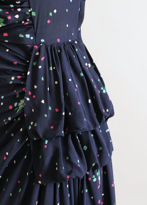 Vintage 1940s Navy Floral Rayon Side Draping Dress