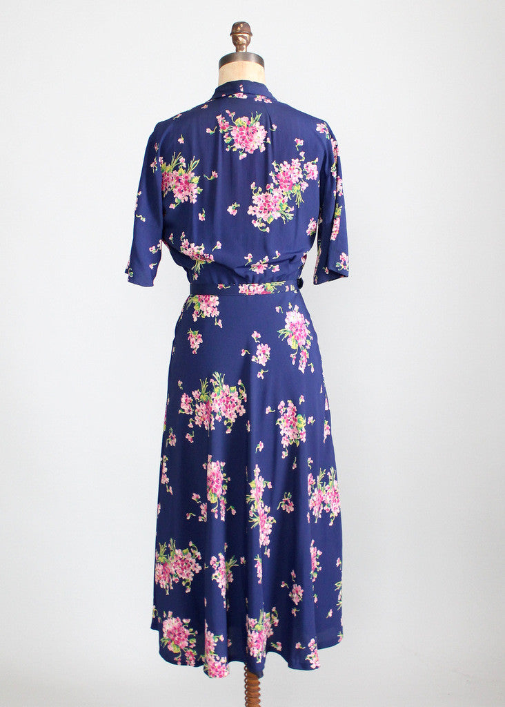 Vintage 1940s Pink Bouquet Floral Rayon Dress