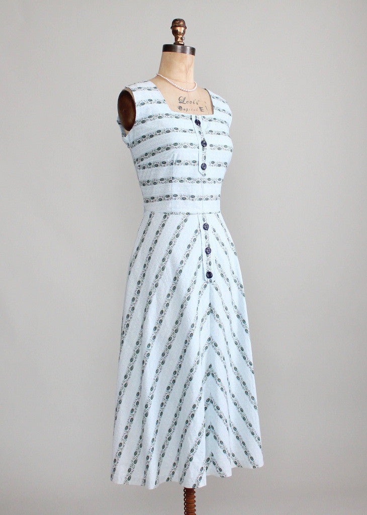 Vintage Late 1940s Floral Striped Cotton Sundress