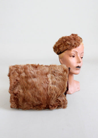 Vintage 1940s Matching Fur Tilt Hat and Muff