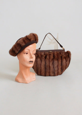 Vintage 1940s Brown Fur Tilt Hat and Purse Set